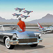 1957 Thunderbird  With F-84 Gunmetal Vintage Ford Classic Art Sketch Rendering           Art Print