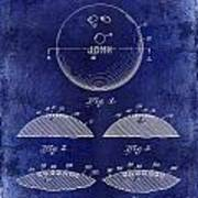 1958 Bowling Patent Drawing Blue Art Print