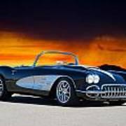 1958 Corvette At Sunset Art Print