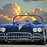 1958 Corvette In Clouds Art Print