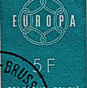 1959 Belgium Stamp - Brussels Cancelled Art Print