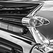 1959 Cadillac Eldorado Taillight -097bw Art Print
