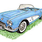 1959 Corvette Frost Blue Art Print