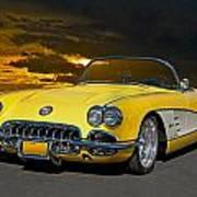 1959 Corvette Yellow Roadster Art Print