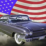 1960 Cadillac Luxury Car And American Flag Art Print
