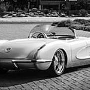 1960 Chevrolet Corvette -0880bw Art Print