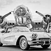 1960 Chevrolet Corvette - B-17 Bomber Art Print