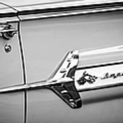 1960 Chevrolet Impala Emblem -340bw Art Print