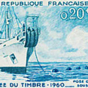 1960 Day Stamp Installation Of A Submarine Cable Art Print