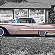 1960 Thunderbird Bw Art Print