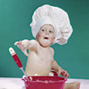 e9318fad0 1960s Baby Wearing Chef Hat With Red by Vintage Images