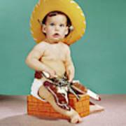 1960s Baby Wearing Cowboy Hat Art Print