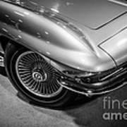 1960's Corvette C2 In Black And White Art Print by Paul Velgos