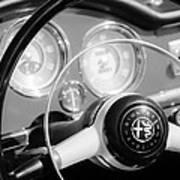1961 Alfa Romeo Giulietta Spider Steering Wheel Emblem -1239bw Art Print