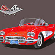 1961 Corvette Convertible Art Print
