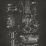 1961 Fender Guitar Patent Artwork - Gray Art Print