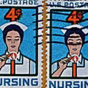 1962 Nursing Stamp Collage Art Print
