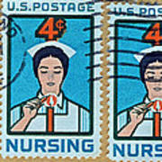 1962 Nursing Stamp Collage - Oakland Ca Postmark Art Print