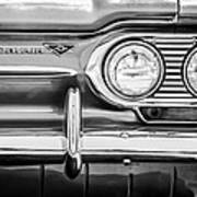 1963 Chevrolet Corvair Monza Spyder Headlight Emblem -0594bw Art Print