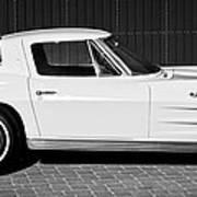 1963 Chevrolet Corvette Split Window -575bw Art Print