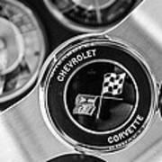1963 Chevrolet Corvette Split Window Steering Wheel Emblem -170bw Art Print