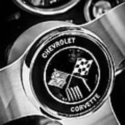 1963 Chevrolet Corvette Split Window Steering Wheel Emblem -309bw Art Print