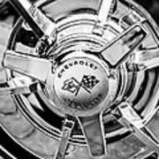 1963 Chevrolet Corvette Split Window Wheel Emblem -478bw Art Print