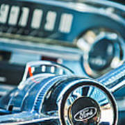 1963 Ford Falcon Futura Convertible  Steering Wheel Emblem Print by Jill Reger