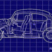1963 Volkswagon Beetle Blueprint Art Print