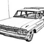 1964 Ford Galaxy Country Stationwagon Illustration Art Print