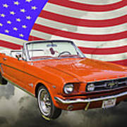 18a961b3 1965 Red Ford Mustang Convertible And American Flag Photo Photograph ...