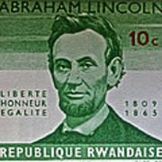 1965 Rwanda Abraham Lincoln Stamp Art Print
