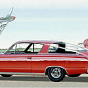 1966 Barracuda Classic Plymouth Muscle Car Sketch Rendering Poster
