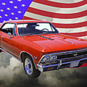 1966 Chevy Chevelle Ss 396 And United States Flag Art Print