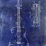 1966 Fender Acoustic Guitar Patent Drawing Blue Art Print
