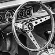 1966 Mustang Dashboard Bw Art Print