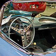 1967 Blue Corvette-interior And Wheel Art Print