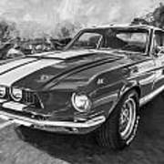 1967 Ford Shelby Mustang Gt500 Painted Bw Art Print