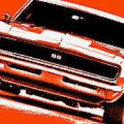 1969 Chevy Camaro Ss - Orange Art Print