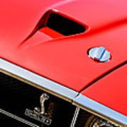 1969 Shelby Gt500 Convertible 428 Cobra Jet Hood - Grille Emblem Art Print