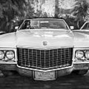 1970 Cadillac Coupe Deville Convertible Painted Bw Art Print