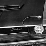 1970 Dodge Challenger T/a In Black And White Art Print