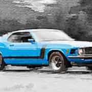 1970 Ford Mustang Boss Blue Watercolor Art Print