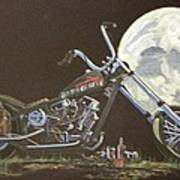 1970 Harley Chopper - Harley Moon Art Print