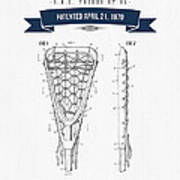 1970 Lacrosse Stick Patent Drawing - Retro Navy Blue Art Print