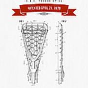 1970 Lacrosse Stick Patent Drawing - Retro Red Art Print