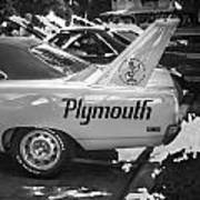 1970 Plymouth Road Runner Hemi Super Bird Bw Art Print
