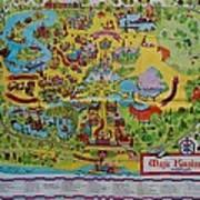 1971 Original Map Of The Magic Kingdom Art Print