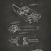1972 Chris Craft Boat Patent Artwork - Gray Art Print
