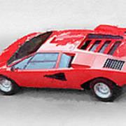 1974 Lamborghini Countach Watercolor Art Print